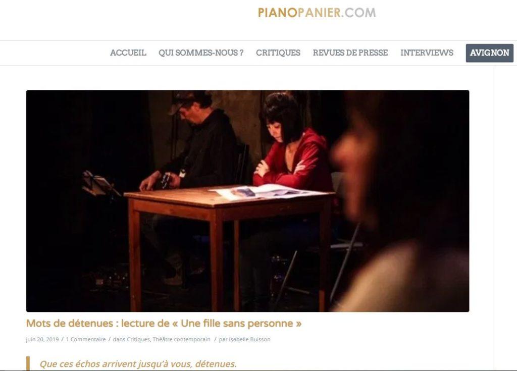 copie d'écran du site pianopanier.com où se trouve la critique.